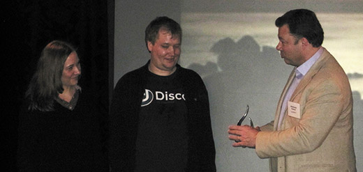 Receiving the bpmNEXT Best In Show Award from Bruce Silver and Nathaniel Palmer