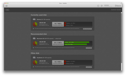Disk Benchmark and Scratch Disk Selection