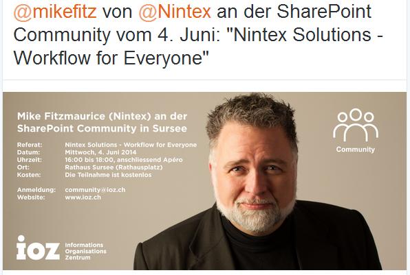 @mikefitz von @Nintex an der SharePoint Community vom 4. Juni: