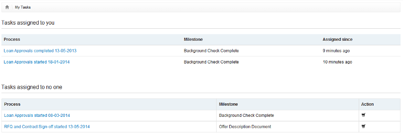 My tasks and unassigned tasks view