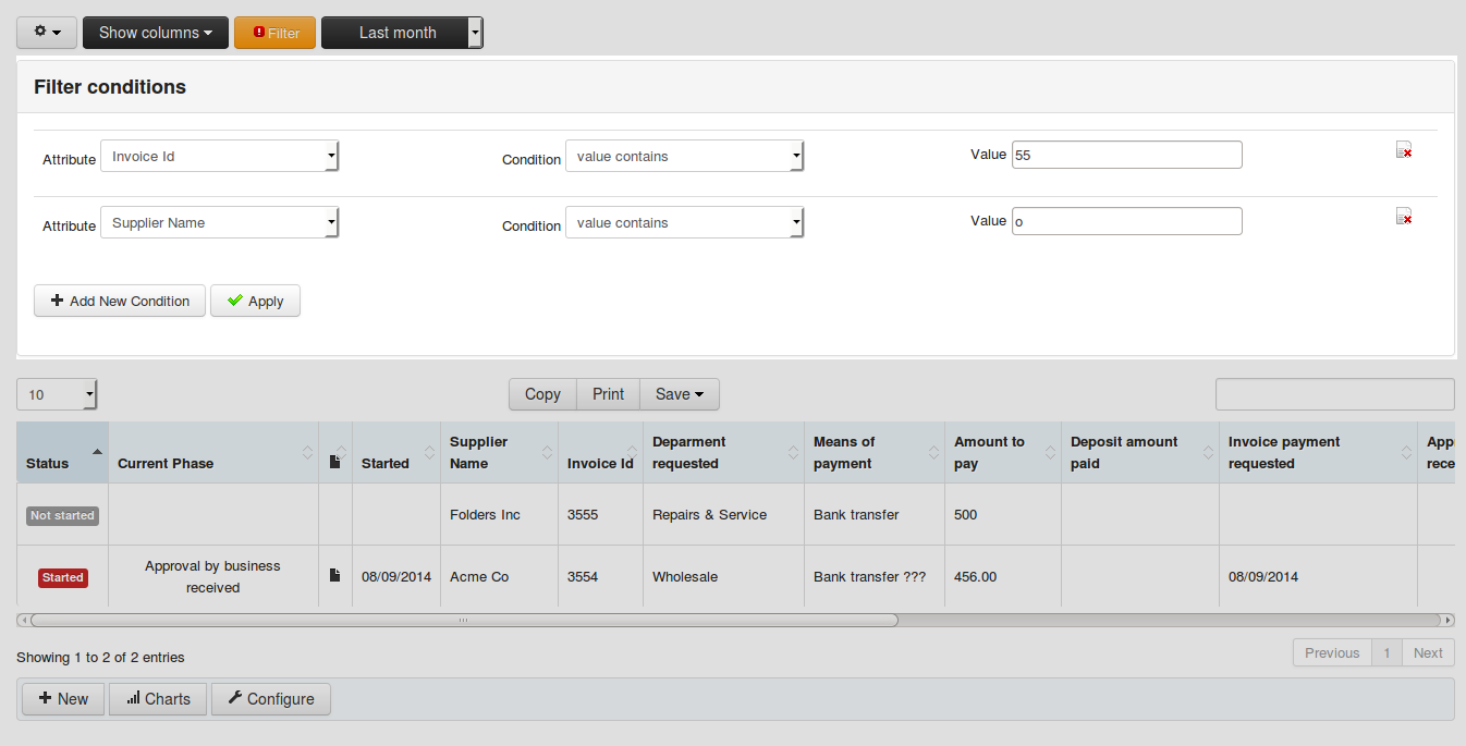 Filters allowing users create own views by filtering processes by parameter values