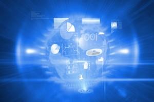 Data technology background against global technology background