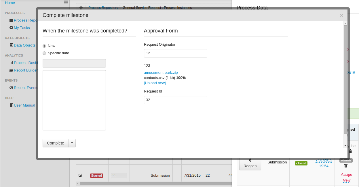 "Process Form (""Approval Form"") displayed during completion of a task"