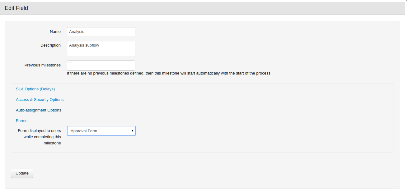 """Choose configuration of milestone, then section """"Forms"""" then select a form from a drop-down"""