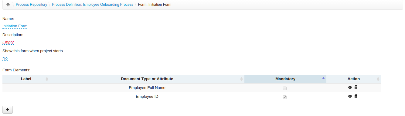 Create form, insert fields, define if they are required or not.