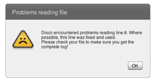 Process Mining Formatting Error - Import warning in Disco
