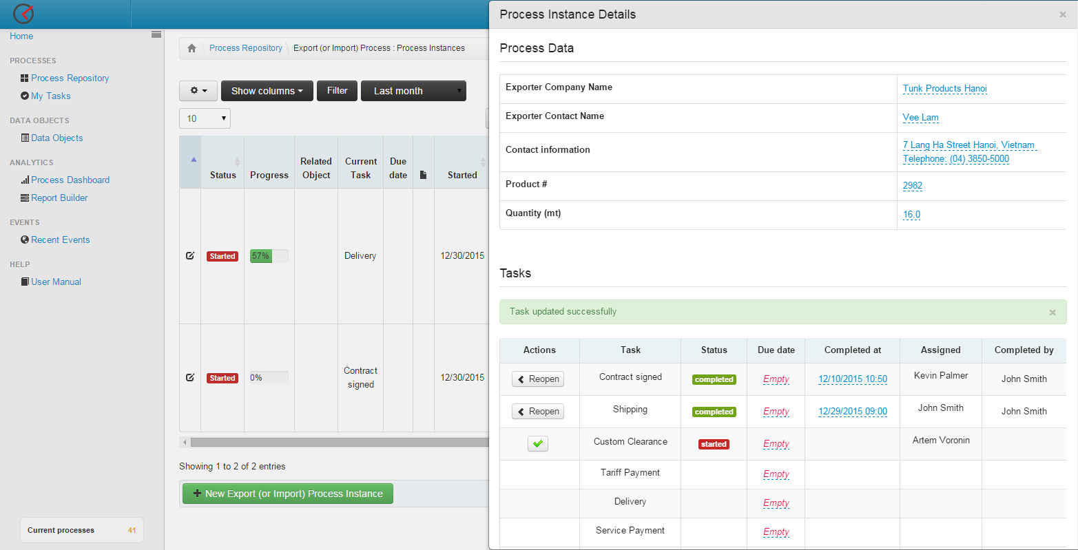 Screenshot of individual export/import processes. At the top - parameters of the process. Bottom - list of tasks with statuses, responsible users, etc.
