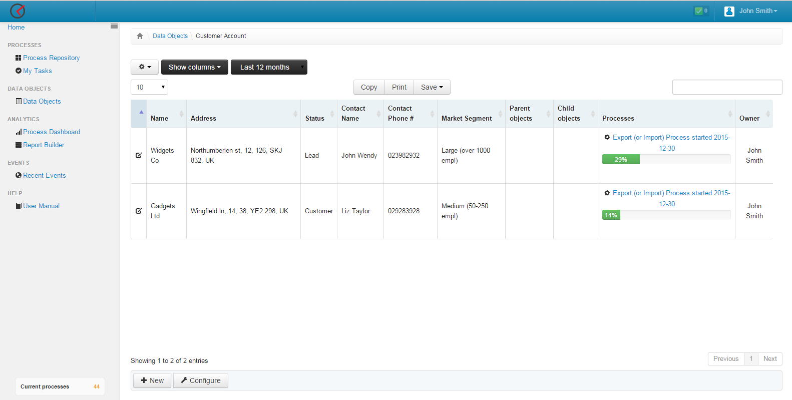 View of records of Individual Customers with information of related Export processes