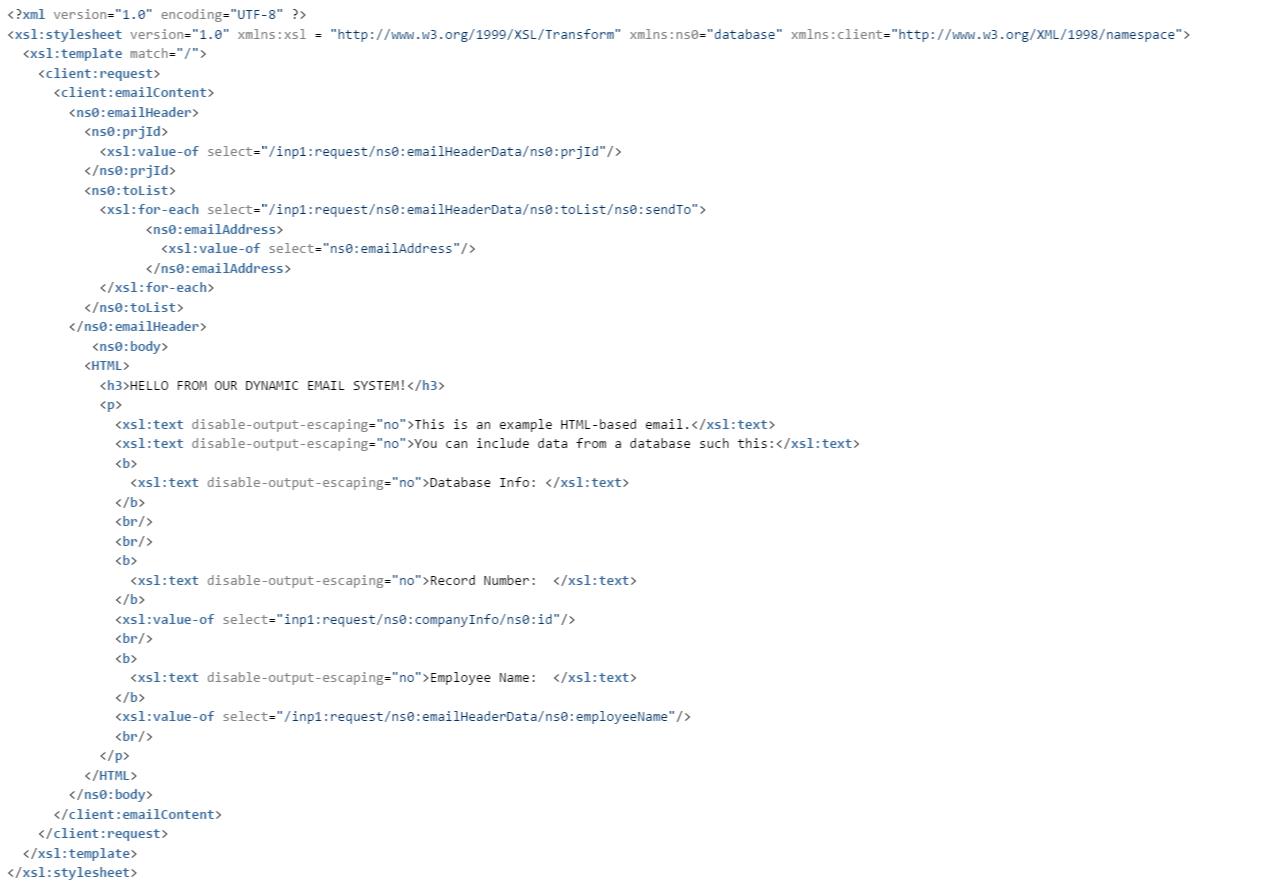 Email XSLT Example