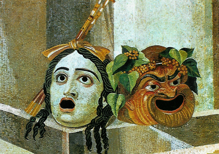 Roman Mosaic with Tragedy & Comedy Masks as gargoyles above a water basin