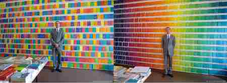 organizing colored books on shelves