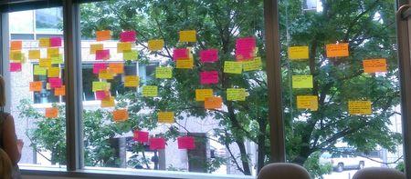 sticky notes from elicitation workshop