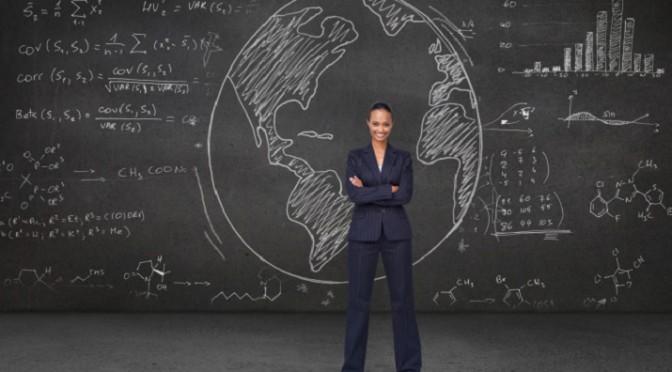 Woman with Predictive Analytics Formulas