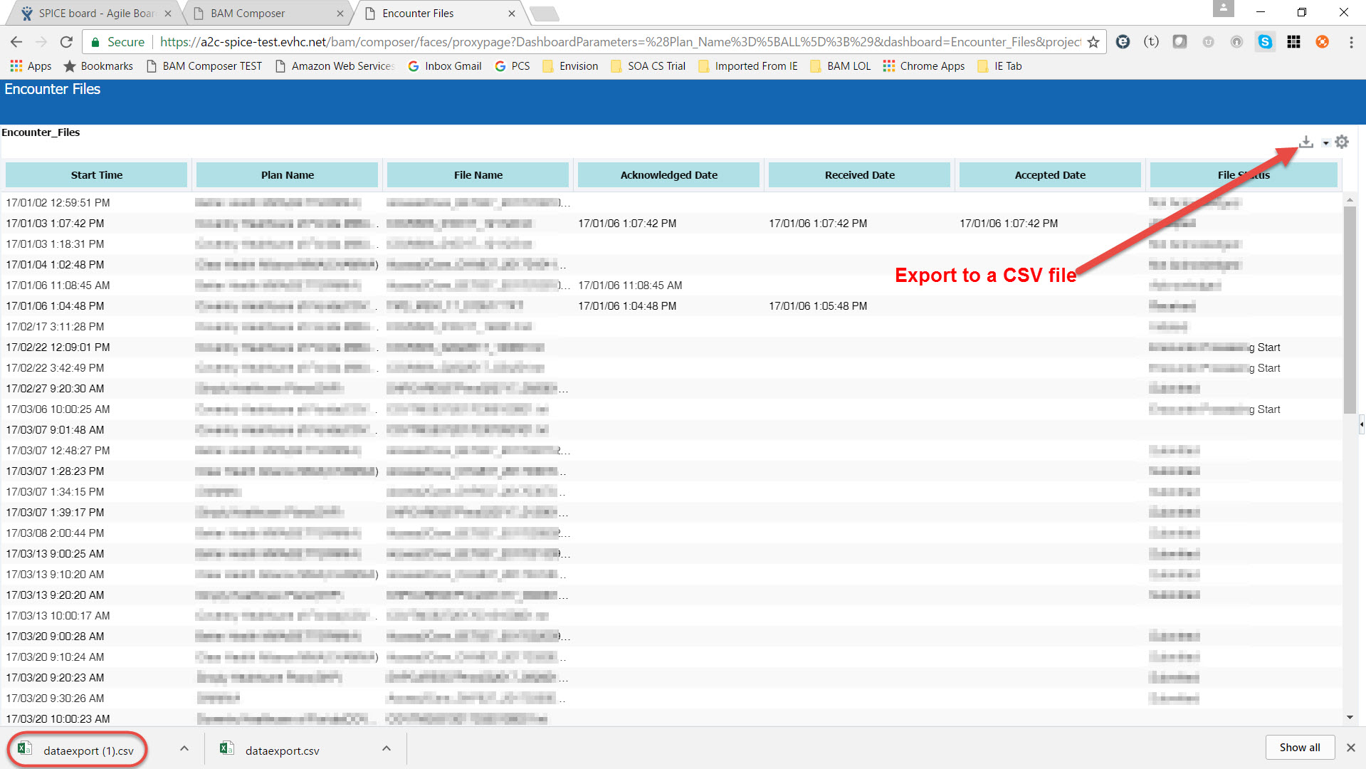 Export BAM data from a dashboard