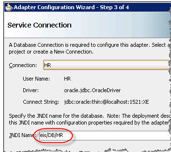 Enter the JNDI connection string