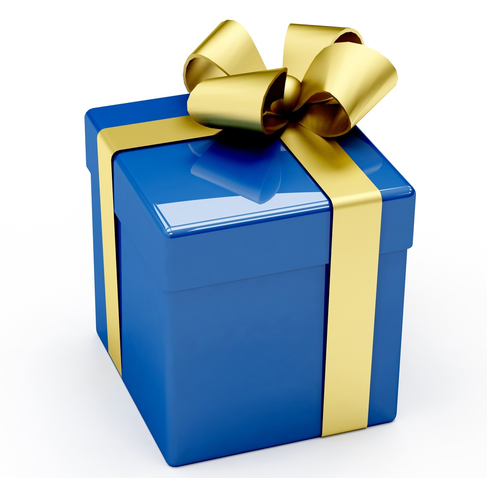 Blue gift box with golden ribbon isolated on white.jpeg
