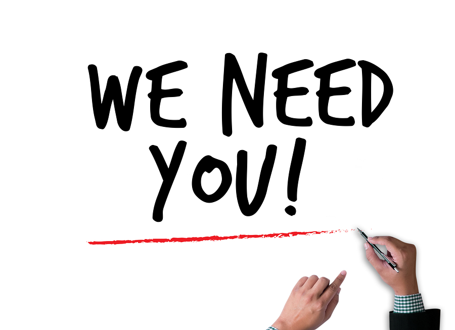 WE NEED YOU! figure pointing with finger to you