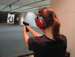 practicing at a shooting range