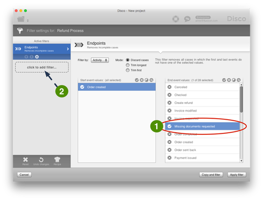 Figure 8: To filter out cases that have been open for a certain time, we first add an Endpoints Filter.
