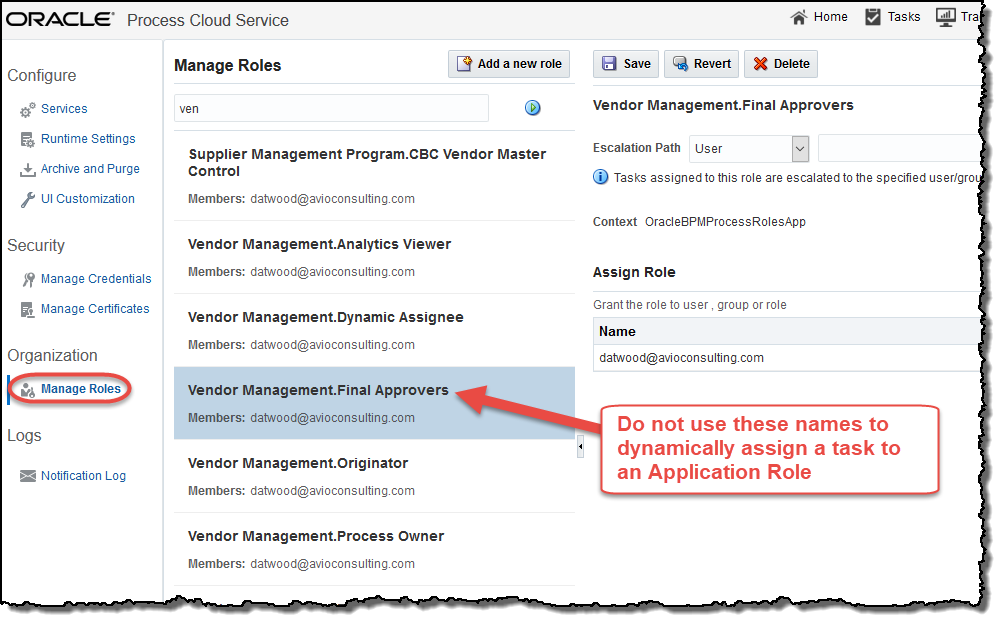Manage Roles option does not provide the ID needed for dynamic assignment