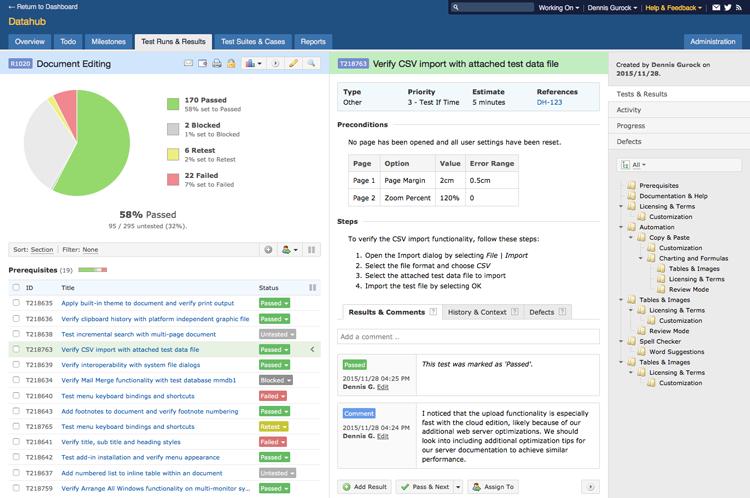 TestRail UI Screen Grab of Test Run