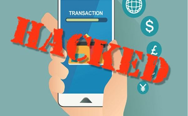 Mobile transaction image with HACKED on it