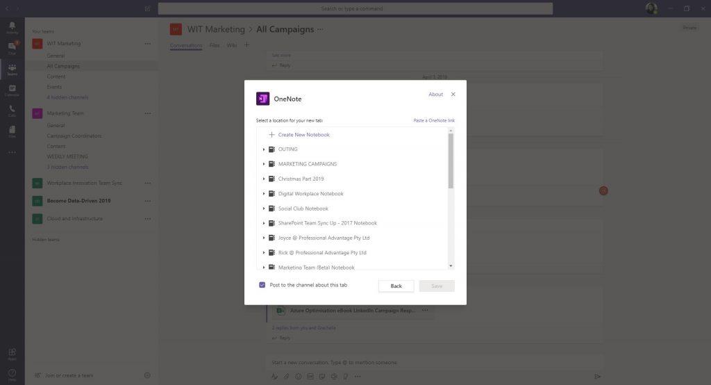 Adding OneNote in Microsoft Teams