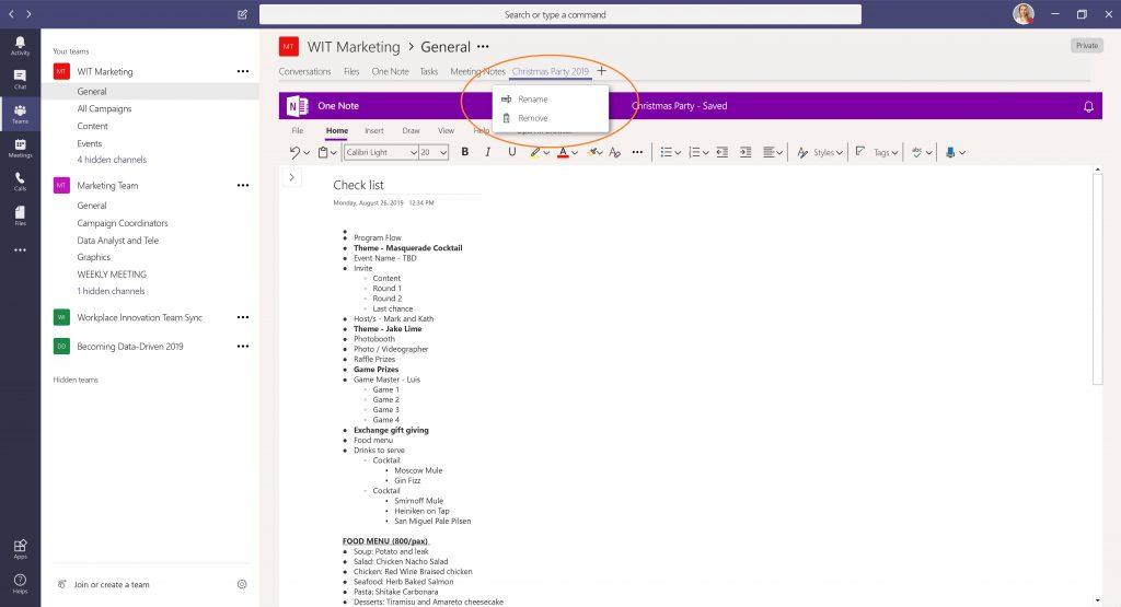 Renaming a Notebook in Microsoft Teams