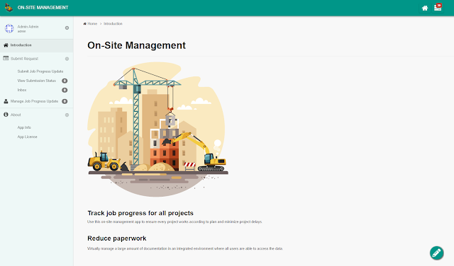Home screen of the On-Site Management App