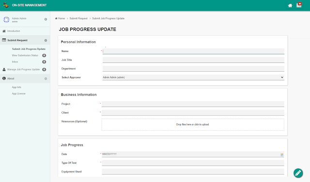 Job progress update form with personal/business information and job progress