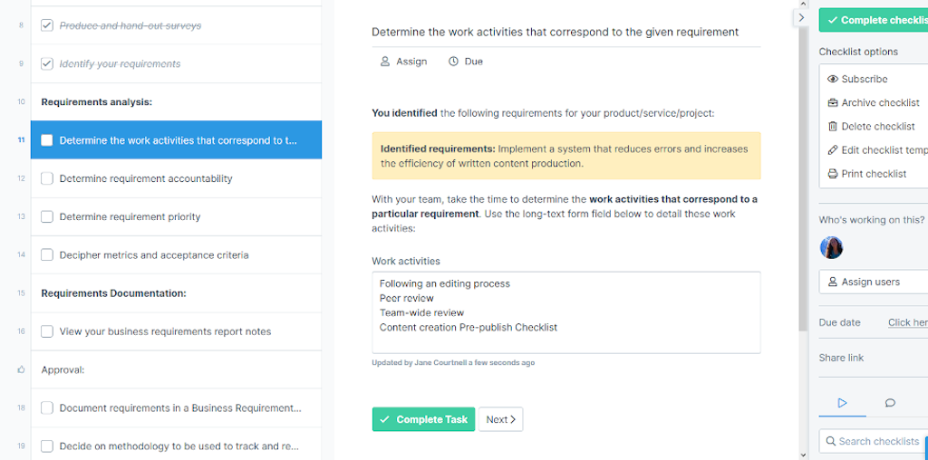 Business requirements - identify work activities