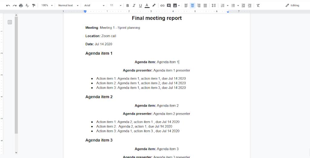 Final meeting report
