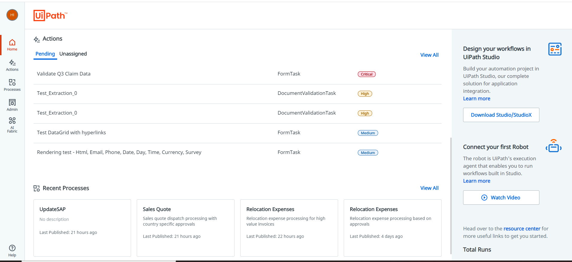 uipath action center home august 2020 update