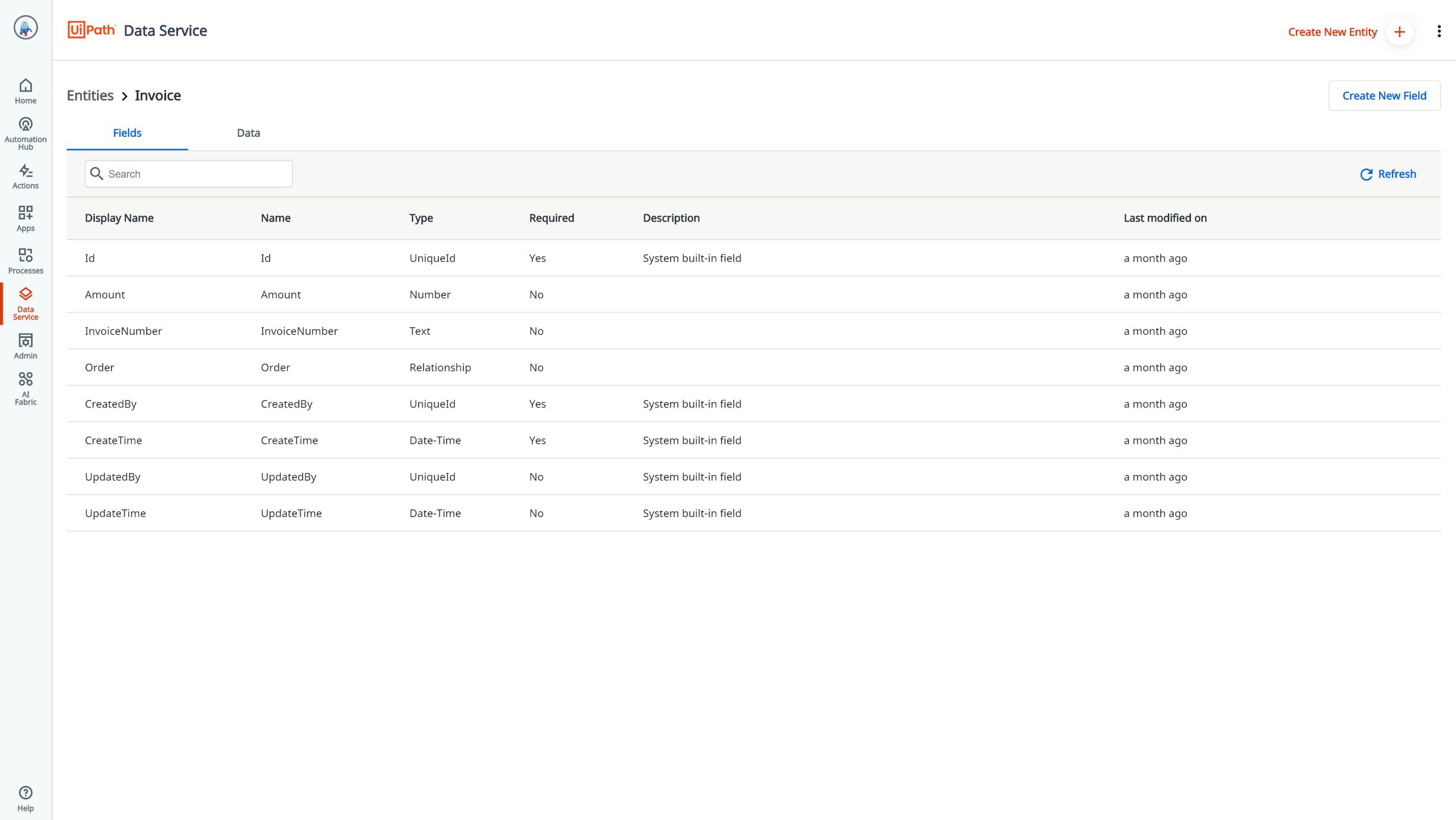 uipath data service