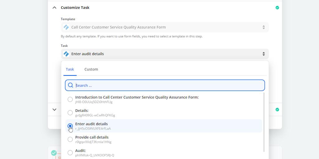 Call Center Quality Assurance Zap Trigger