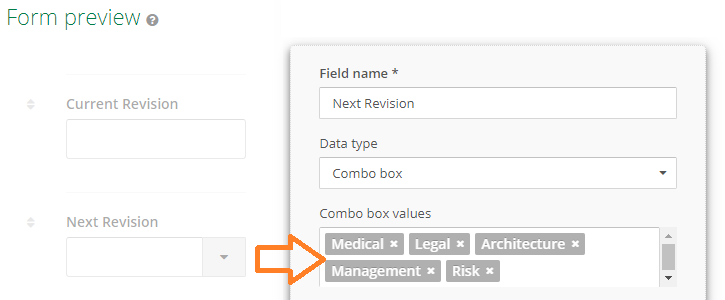 Process form to support an ad-hoc process Selection of the next destination through a combo of options.