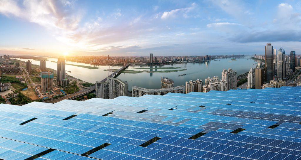 Eco-environmentally friendly green energy of sustainable development of solar power plant.