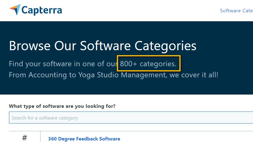 Capterra's software categories