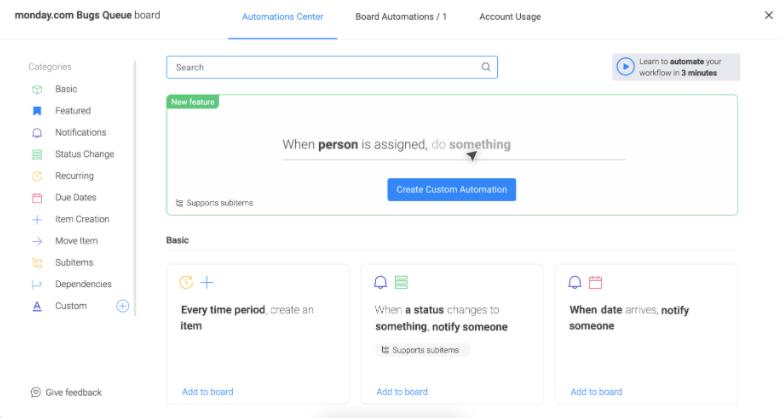 monday.com automations menu
