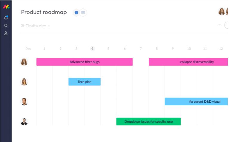 monday.com product roadmap template