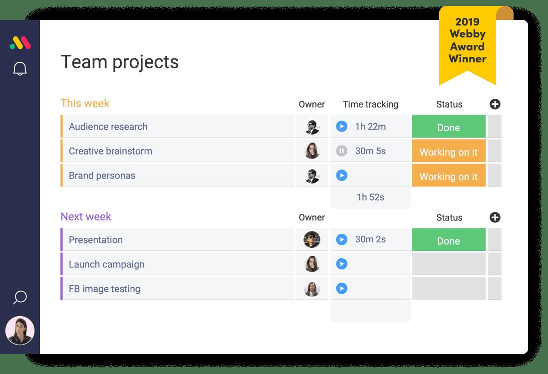 screenshot of monday.com team projects