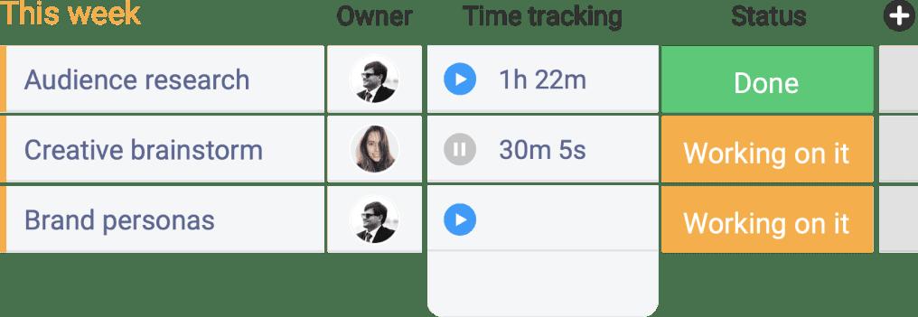 screenshot of monday.com time tracking