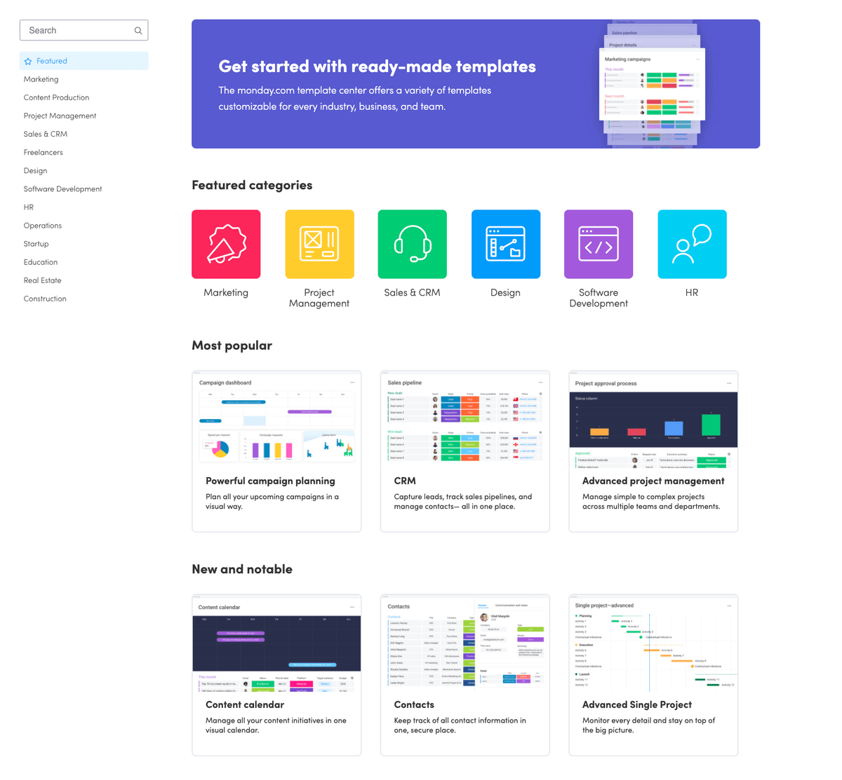monday.com's library of great templates