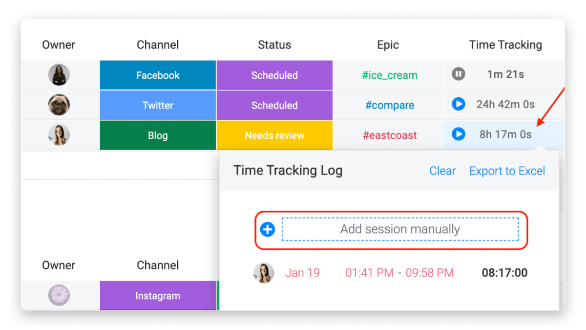 monday.com's time tracking feature in action