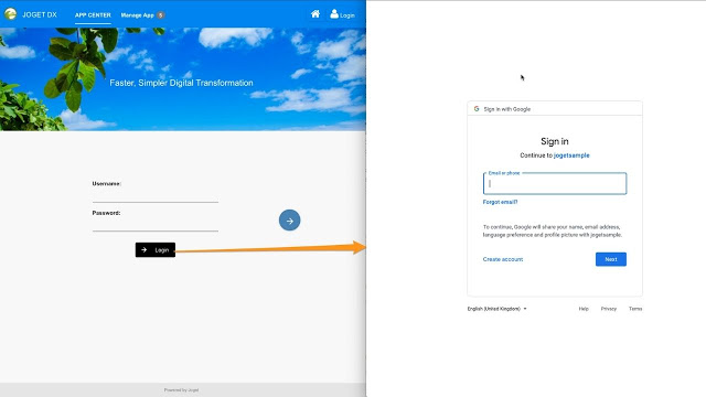 An example of the Joget OpenID Connect Directory Manager Plugin for authentication