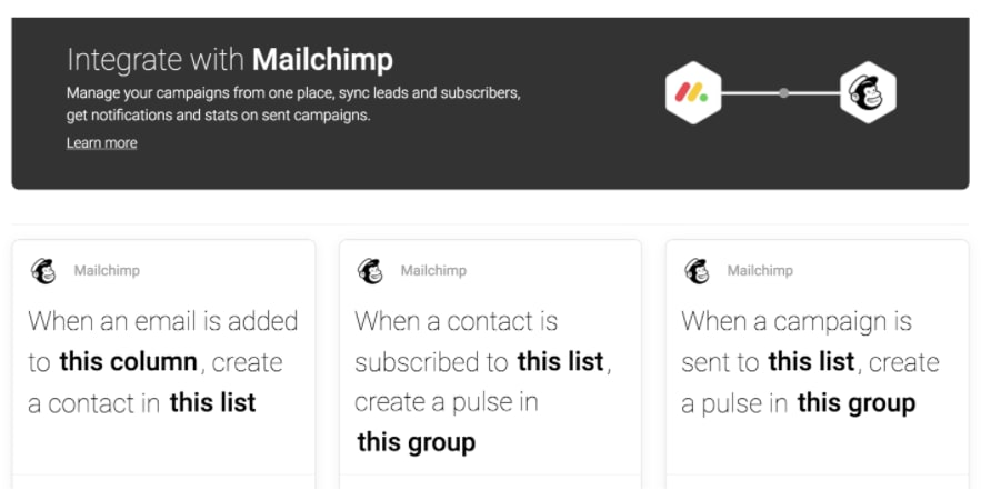 Screenshot showing possible integration activities between Mailchimp and monday.com