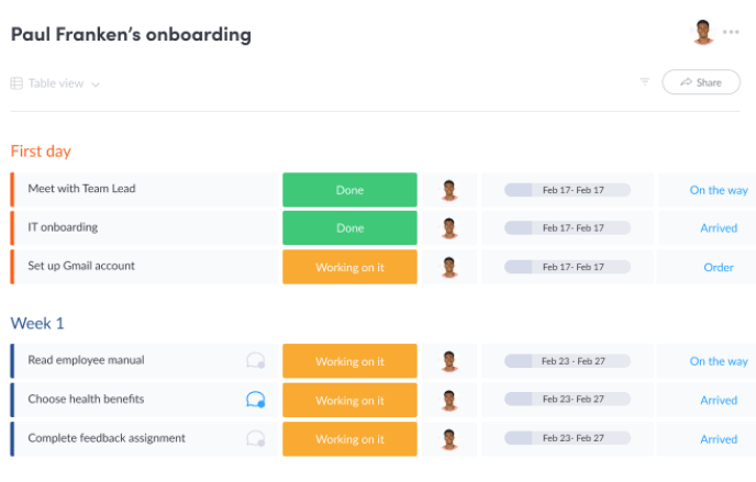 screenshot showing onboarding template from monday.com with new hire first day and week 1 schedule