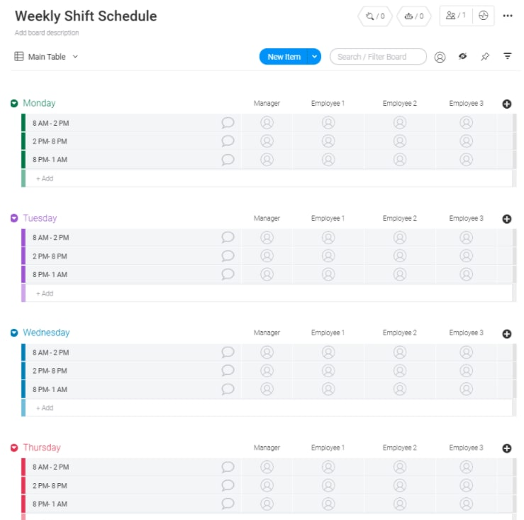 project manager time management weekly shift template