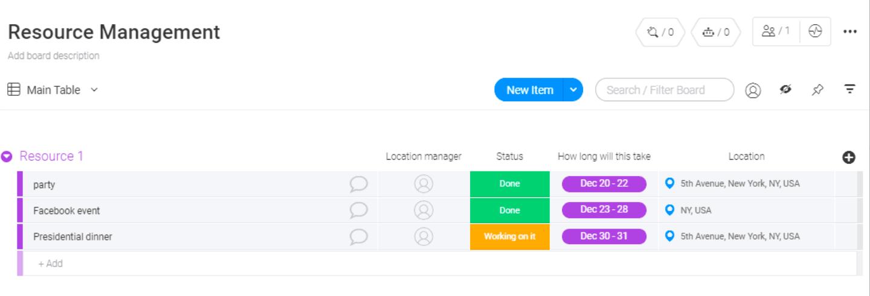 monday.com resource management template