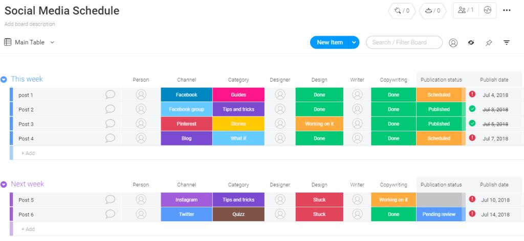monday.com's social media schedule template